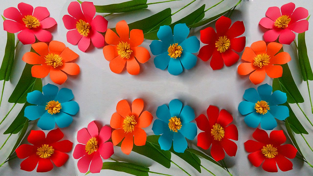 In This Video A Beautiful Flower Is Made Of Colored Paper This
