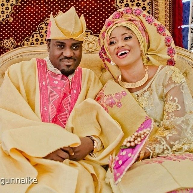 Nigerian Traditional Yoruba Wedding: Nigerian Yoruba Groom And Bride In Pink And Gold During