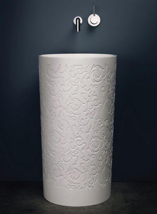 round decorative pedestal sink blu
