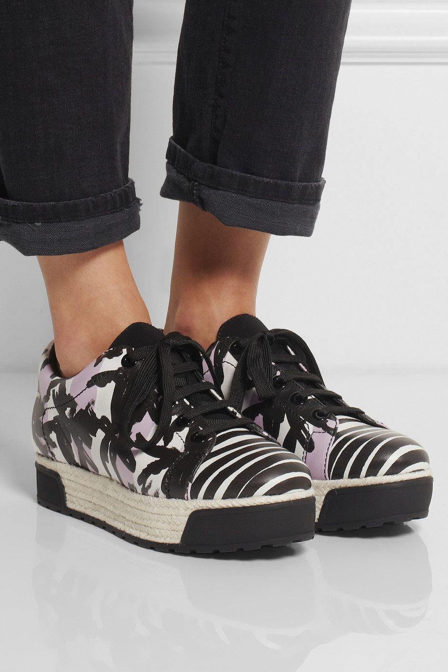KENZO|Palm tree-print leather and raffia sneakers|NET-A-PORTER.COM