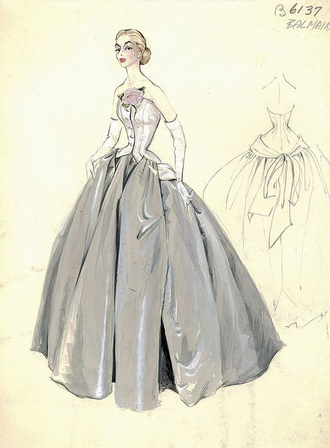 Haute Couture fashion illustration. Strapless evening ball gown in white and grey color with self button center front closing  beautifully decorated with a pink millinery flower with leaf. Grey color ball gown full skirt with tied drape at the back of the dress. Includes back views in pencil. Bergdorf Goodman 1950s