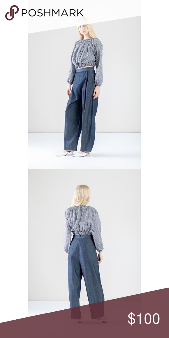 Pleated Wide-Leg Chambray Denim Relaxed Pants