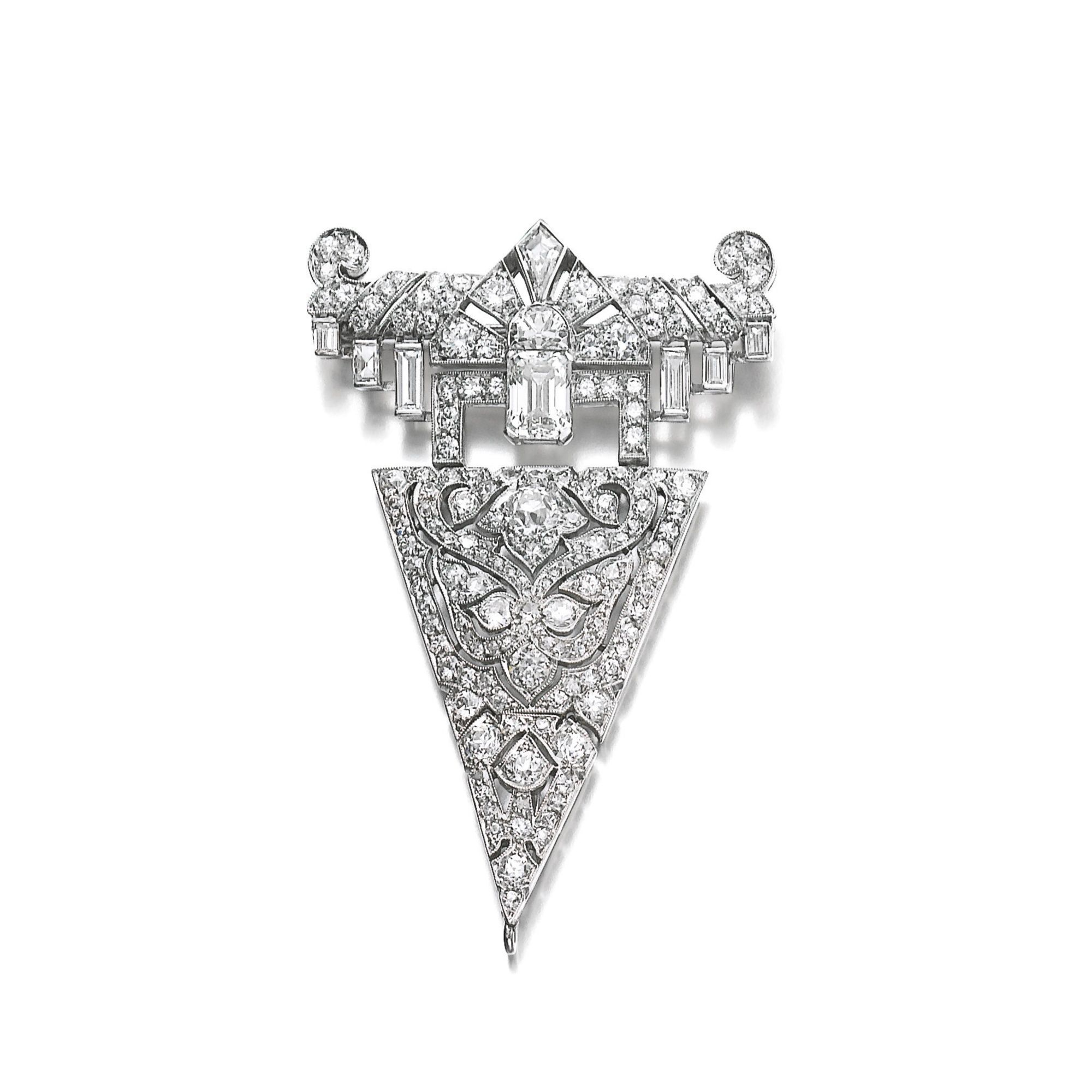 Diamond broochpendant cartier s of geometric and foliate