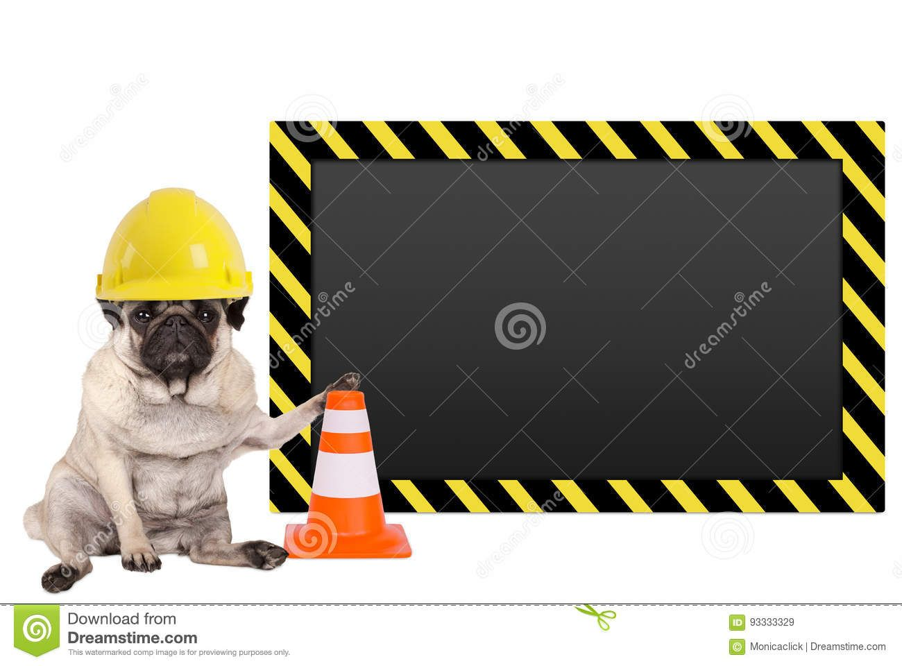 Pug Dog With Yellow Construction Worker Safety Helmet And Blank Warning Sign Stock Image Image Of Builder Safety 93333329 Pug Dog Safety Helmet Pugs