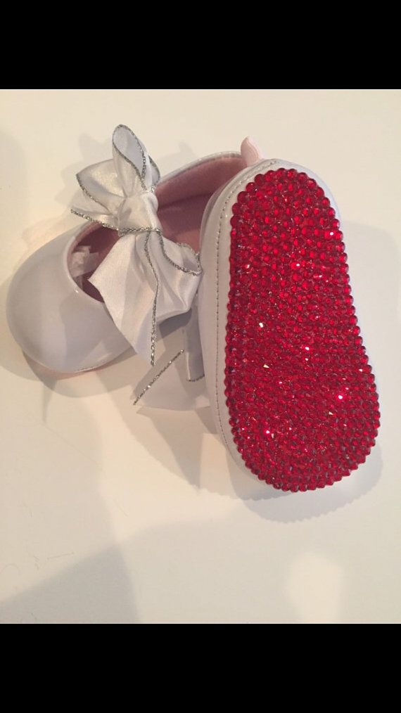 official images new list detailed pictures Christian Louboutin Inspired RED BOTTOM Crystal Baby Crib Shoes ...