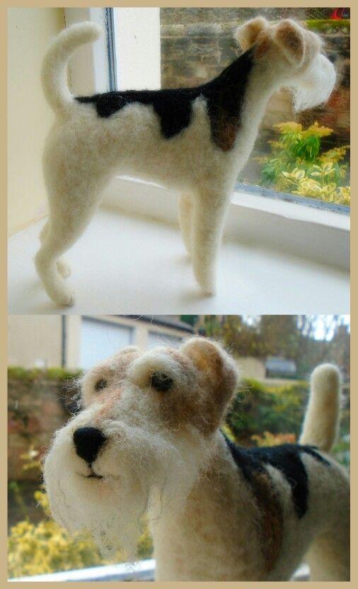 Needle Felted Wire Haired Fox Terrier Sshaw Naaldvilten Vilt