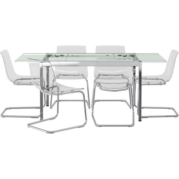 Ikea Glivarp Tobias Table And 6 Chairs Clear Clear 1025 Cad Classy Glass Dining Room Table Ikea Inspiration