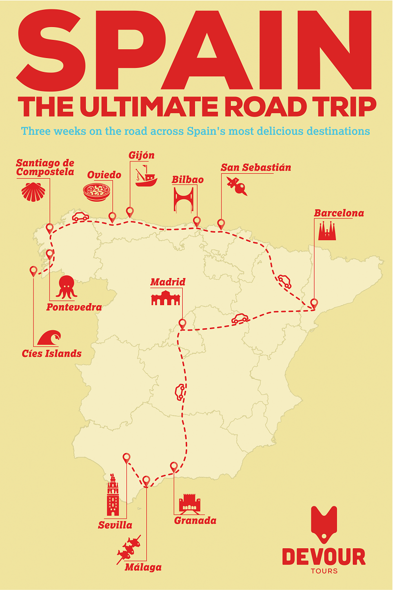 Your Ultimate Guide to the Best-Ever Road Trip in Spain: Where to Stop, What to Eat and More. This three-week itinerary covering both northern and southern Spain can be completed in full or broken into chunks for a shorter visit. Take a look at our road trip map and infographic and enjoy a visit by car to the best destinations in Spain! map Your Ultimate Guide to the Best-Ever Road Trip in Spain: Where to Sto