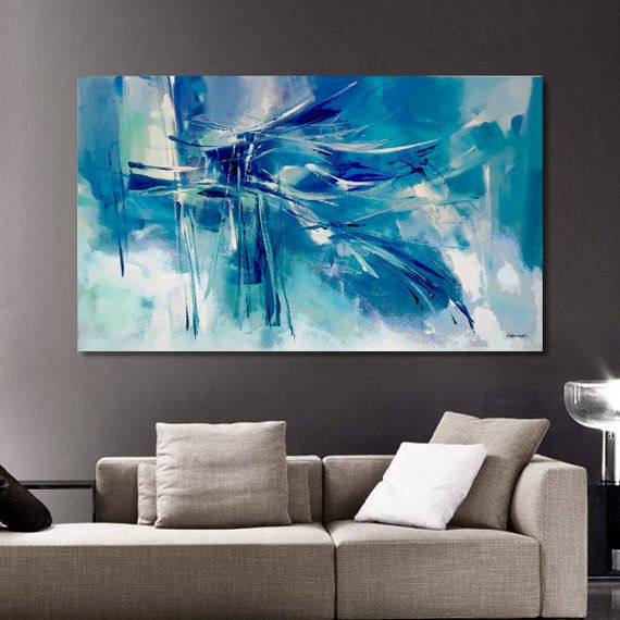Abstract painting moderne original painting turquoise blue for Peinture chambre bleu turquoise