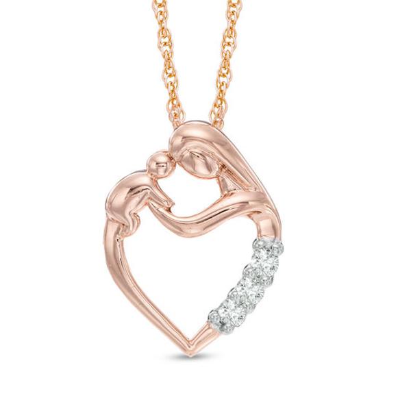 1 10 Ct T W Diamond Motherly Love Heart Pendant In 10k