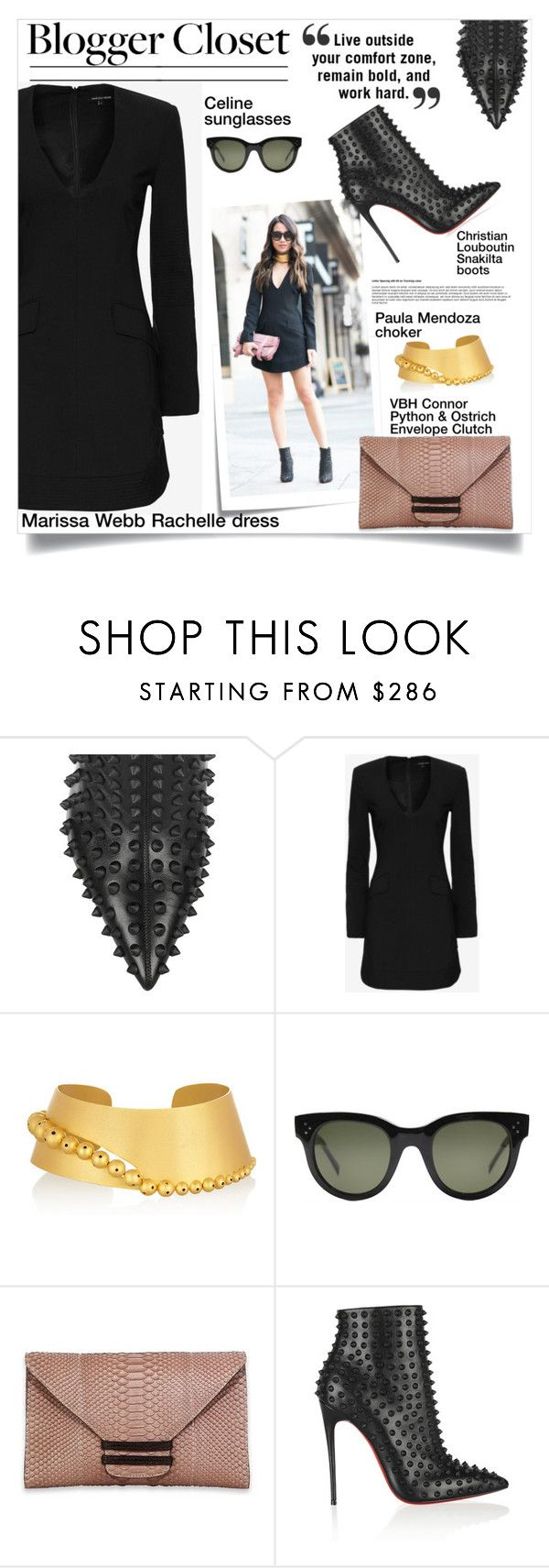 """LBD"" by lisamichele-cdxci ❤ liked on Polyvore featuring Christian Louboutin, Post-It, Marissa Webb, Paula Mendoza, CÉLINE, VBH, BloggerStyle, LBD, wendyslookbook and WendyNguyen"