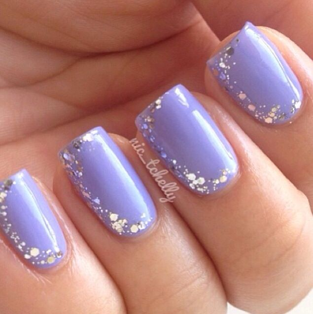 Light purple and glitter nails | nail designs | Simple ...