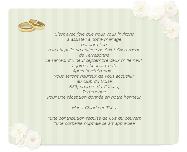 Texte De Faire Part Mariage Avec Contribution Recherche