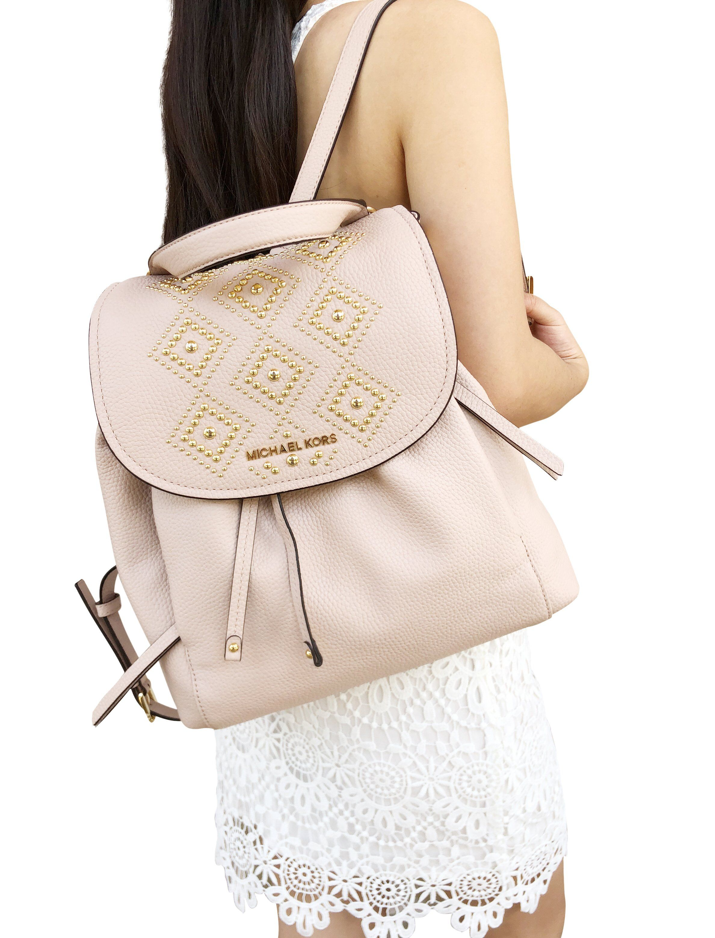 b78863e67b64 Michael Kors Riley Large Backpack Ballet Pink Gold Studded Drawstring Flap  #ebaybusiness #tradesyseller #poshmark #posh #poshboss #poshpackages ...