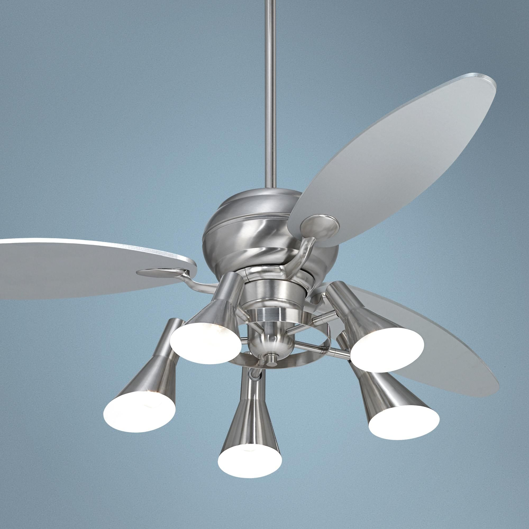 "60"" Spyder™ Brushed Steel Ceiling Fan with 5 Light Kit"