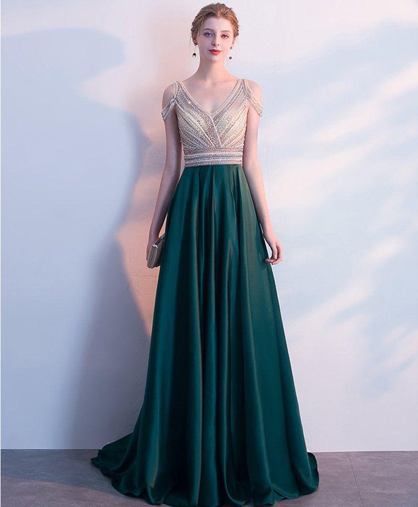 Deep green satin v neck off shoulder long crystal evening dress