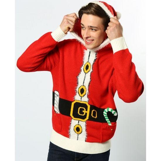 Kersttrui Kerstman.Rode Hooded 3d Kersttrui In Kerstmannenpak Print De Kersttrui Is