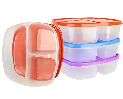 Amazon.com (3 Pack) Large 3 Compartment Microwavable Food Container with Lid / Divided Plate Bento Box Microwave Safe Sectional Lunch Tray with Cover ...  sc 1 st  Pinterest & Pin by Colleen Zimmerman on Schooltime | Pinterest | Divided plates ...
