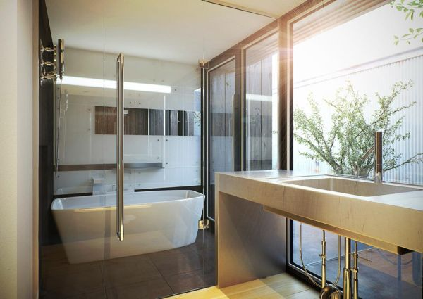 Image Gallery Website Minimalist white Japanese contemporary bathroom
