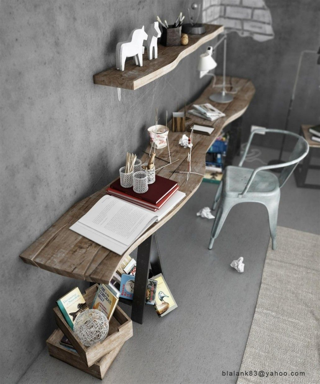 bright and modern driftwood desk. Cool Industrial Bedroom Decorating from Two Designer  Driftwood Floating Desk Table And Blue Arm Chair