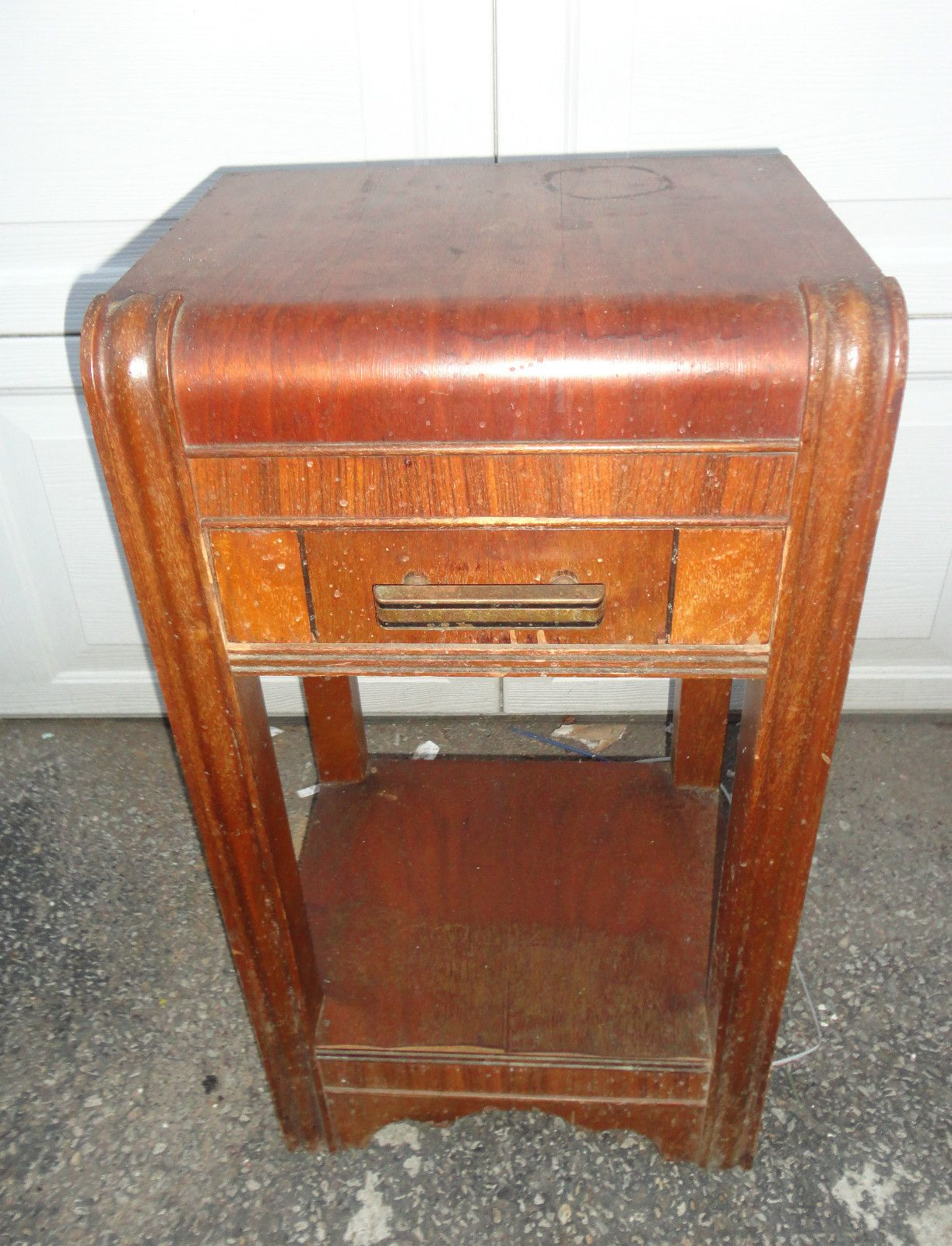 Antique 1930 S Side Table Nightstand Art Deco Wood 28