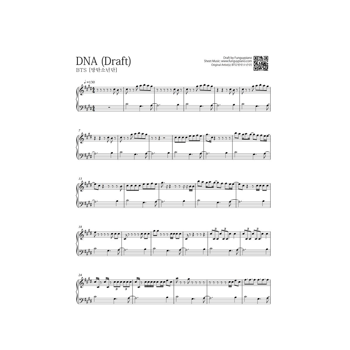 Bts Dna Piano Sheet Piano Learn Piano Beginner