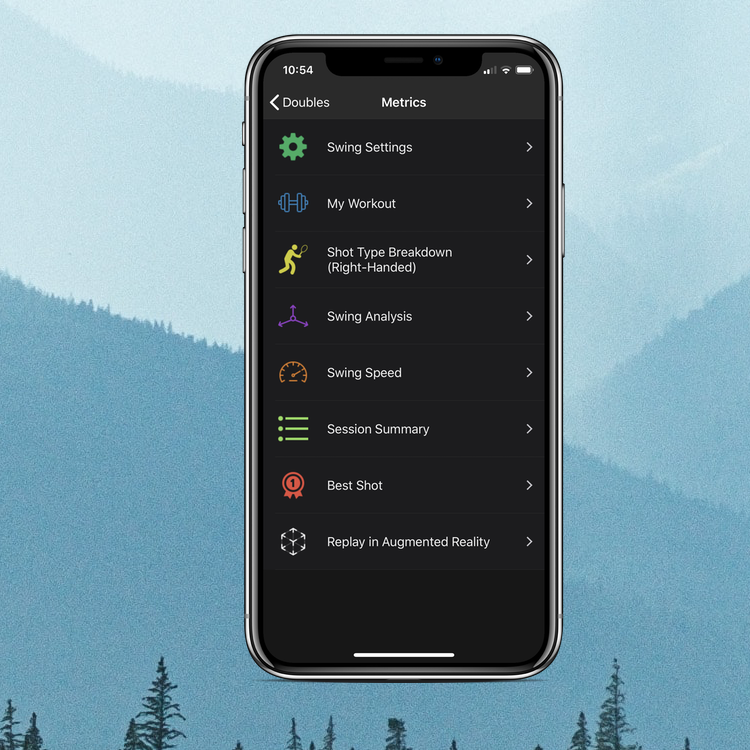 TennisKeeper provides lots of metrics about your swings