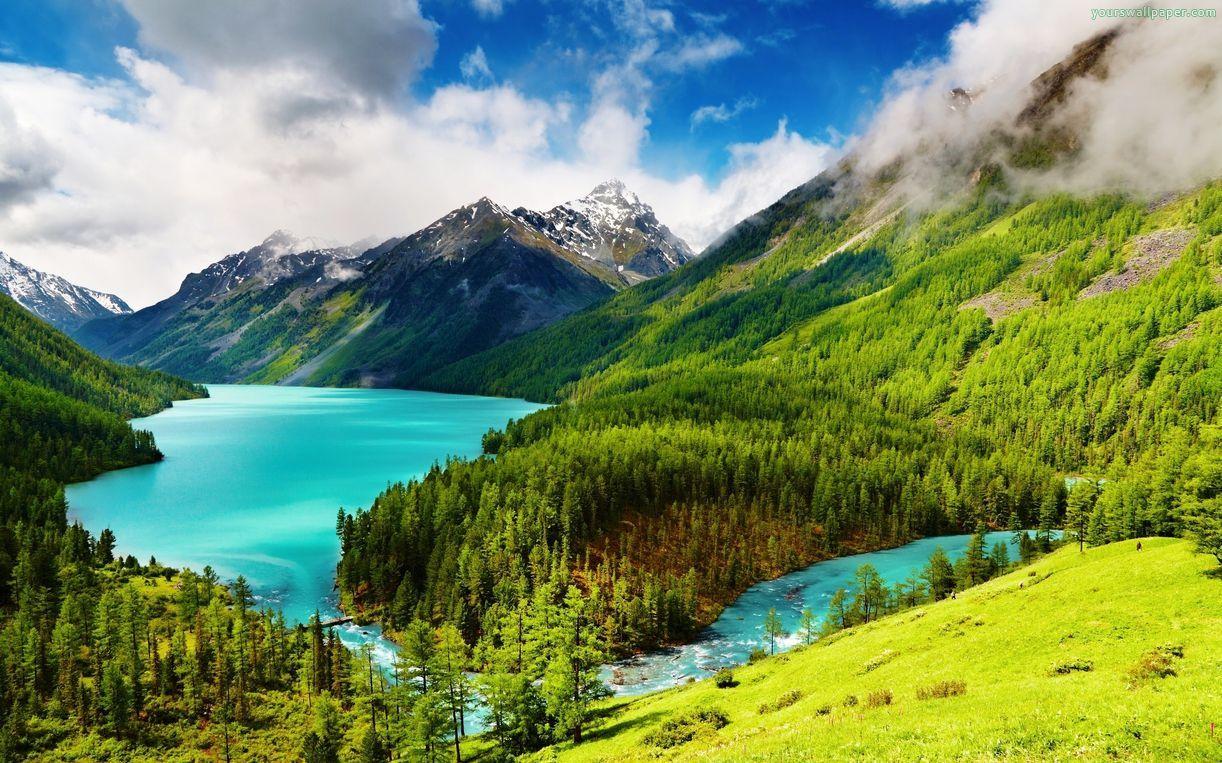 Blue Clouds Forest Green Mountains River Landscape Wallpaper