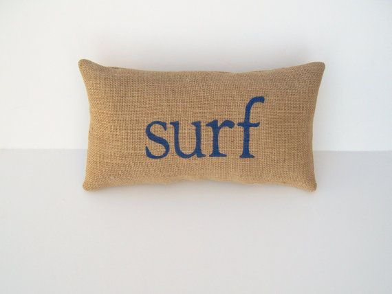 decorative burlap surf pillow home and beach by whimsysweetwhimsy