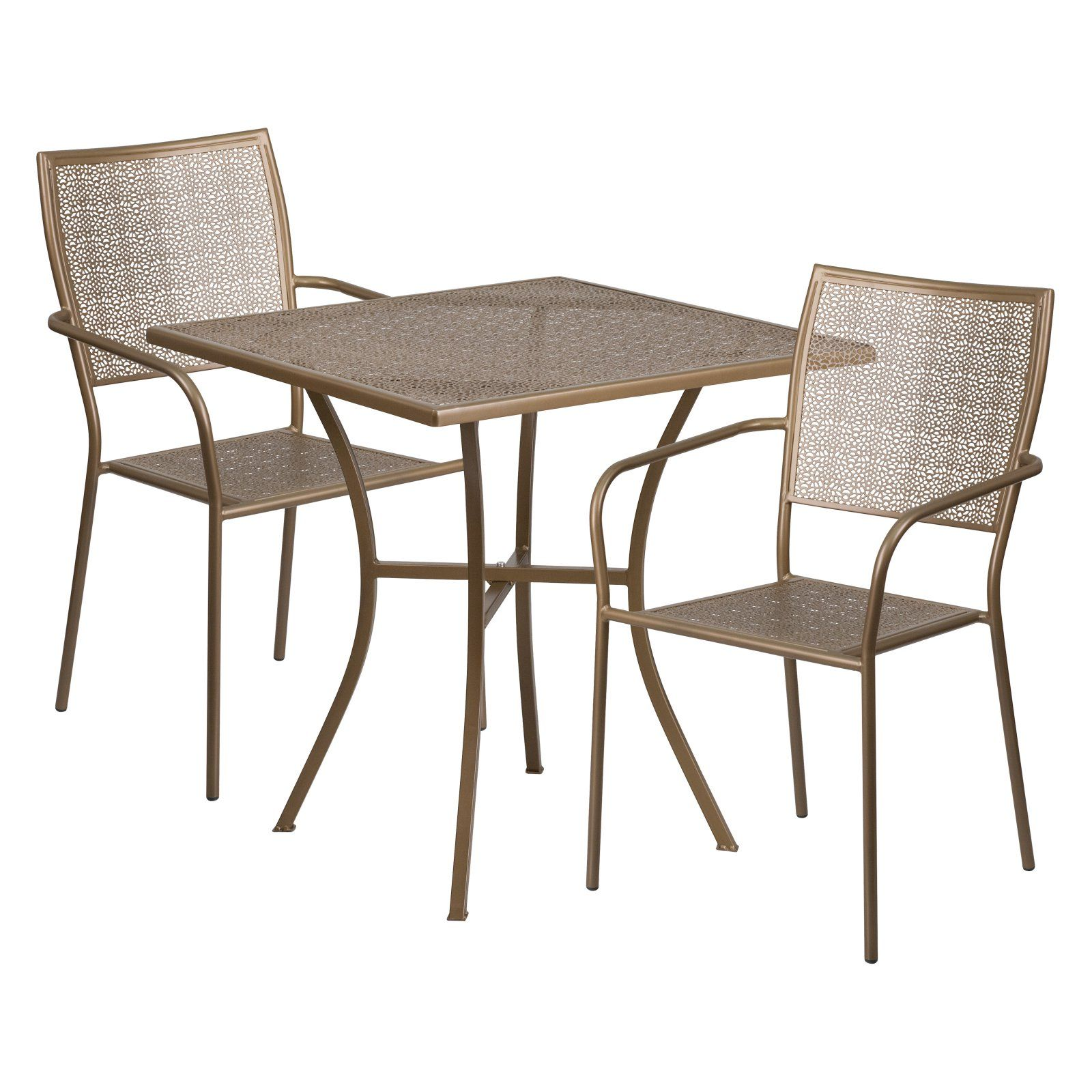 Outdoor Flash Furniture Steel Square Patio Bistro Set