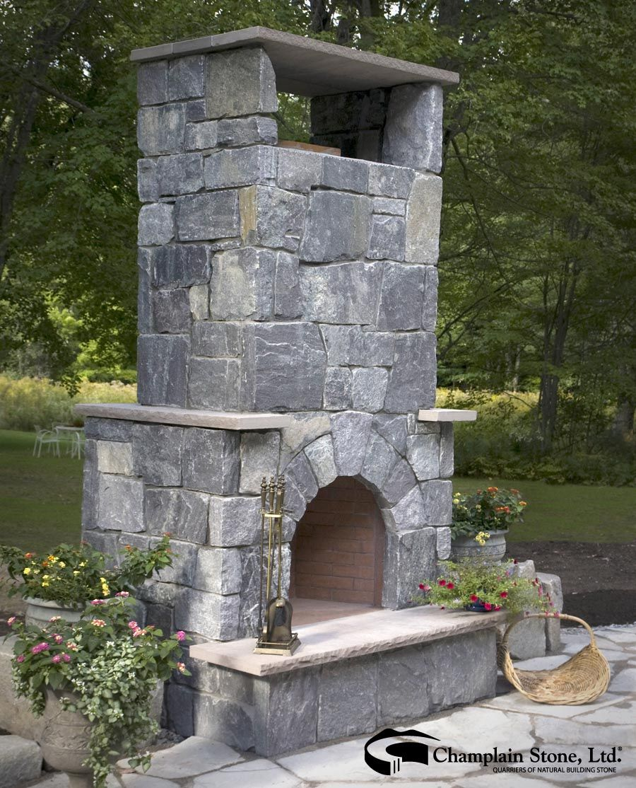 A Corinthian Granite Outdoor Fireplace Is Featured At This Private Residence In Maine Outdoor Fireplace Landscaping Inspiration Fireplace