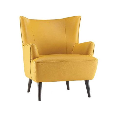Kasala leather accent chair modern wing back chair - Yellow leather living room furniture ...