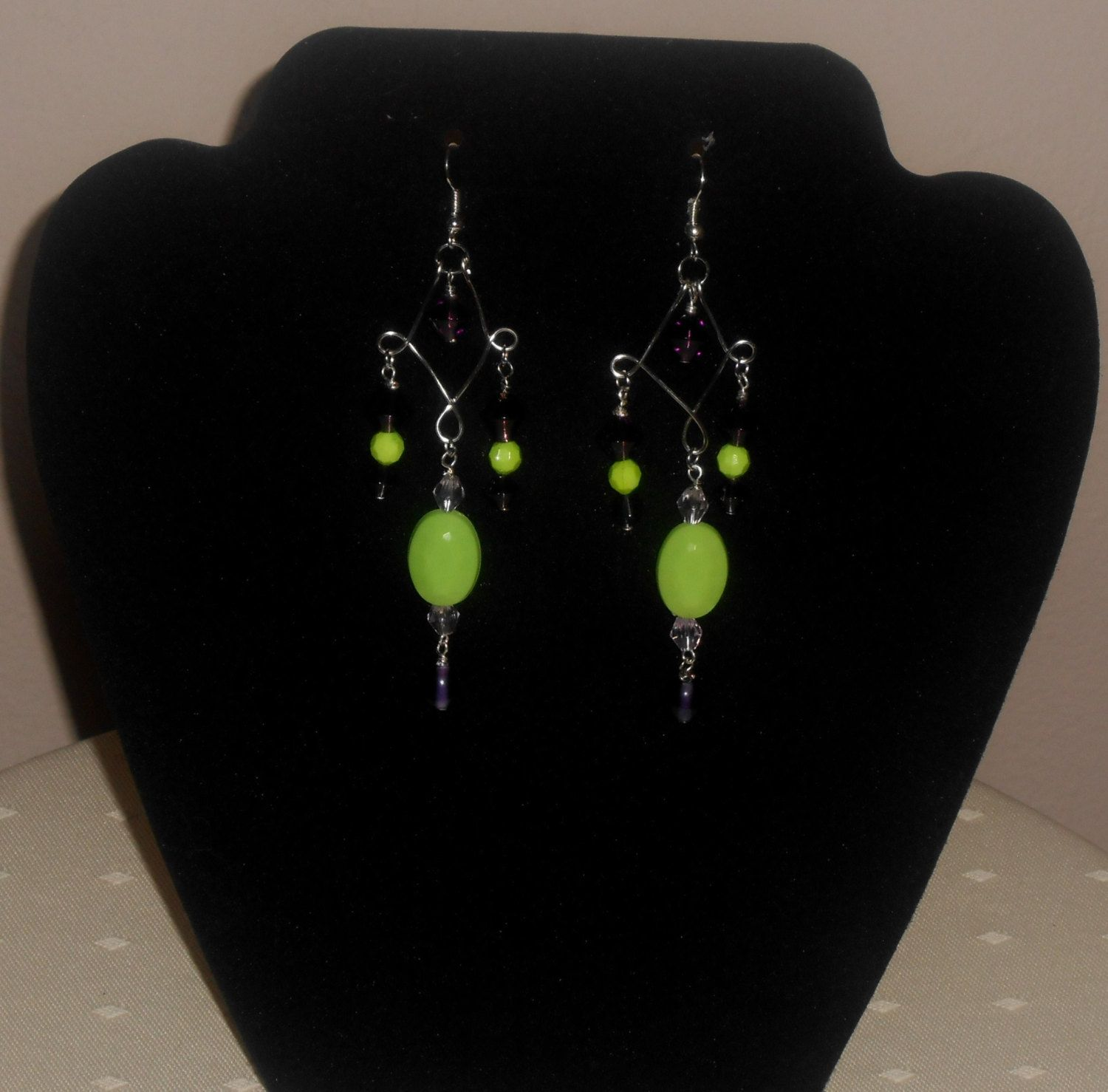 Lime Light chandelier earrings by leidesigns on Etsy