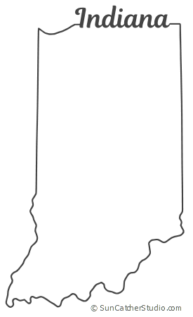 Indiana Map Outline Printable State Shape Stencil Pattern Indiana Map Indiana Crafts Map Outline