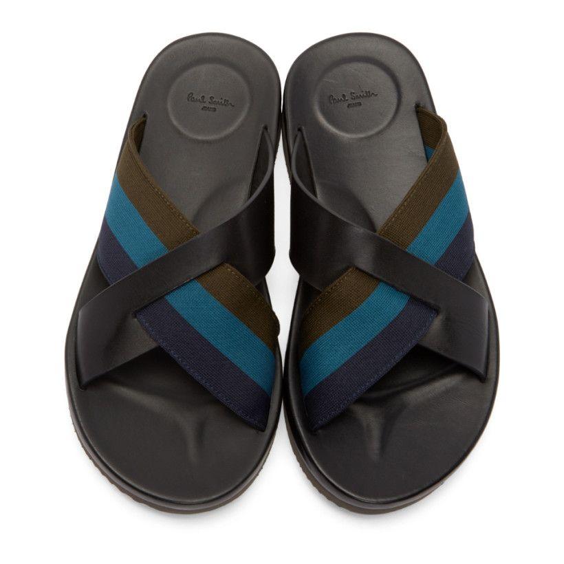 b3208c502151 Paul Smith Jeans - Black Striped Gain Sandals