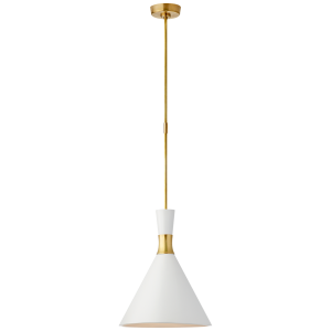 Liam Medium Conical Pendant In Hand Rubbed Antique Brass With Matte White Shade Ceiling Light Design Visual Comfort Modern Ceiling Light