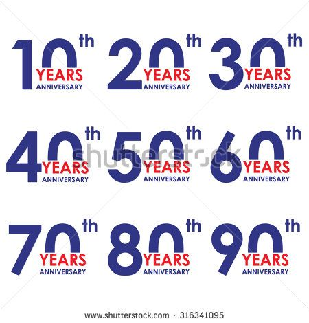 Anniversary icon set Anniversary symbols isolated on white - congratulation templates