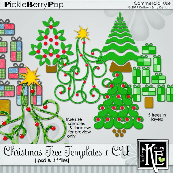 Christmas Tree Templates 1 CU Commercial Use Digital Scrapbooking