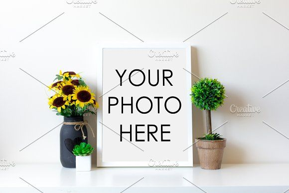 White Frame With Sunflower & Topiary | Mockup and Beauty packaging