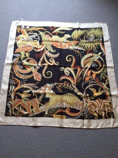 1b4ed357c70d uthentic Ferragamo, Italy Vintage Foulard – 100% silk twill   Scarfs ...