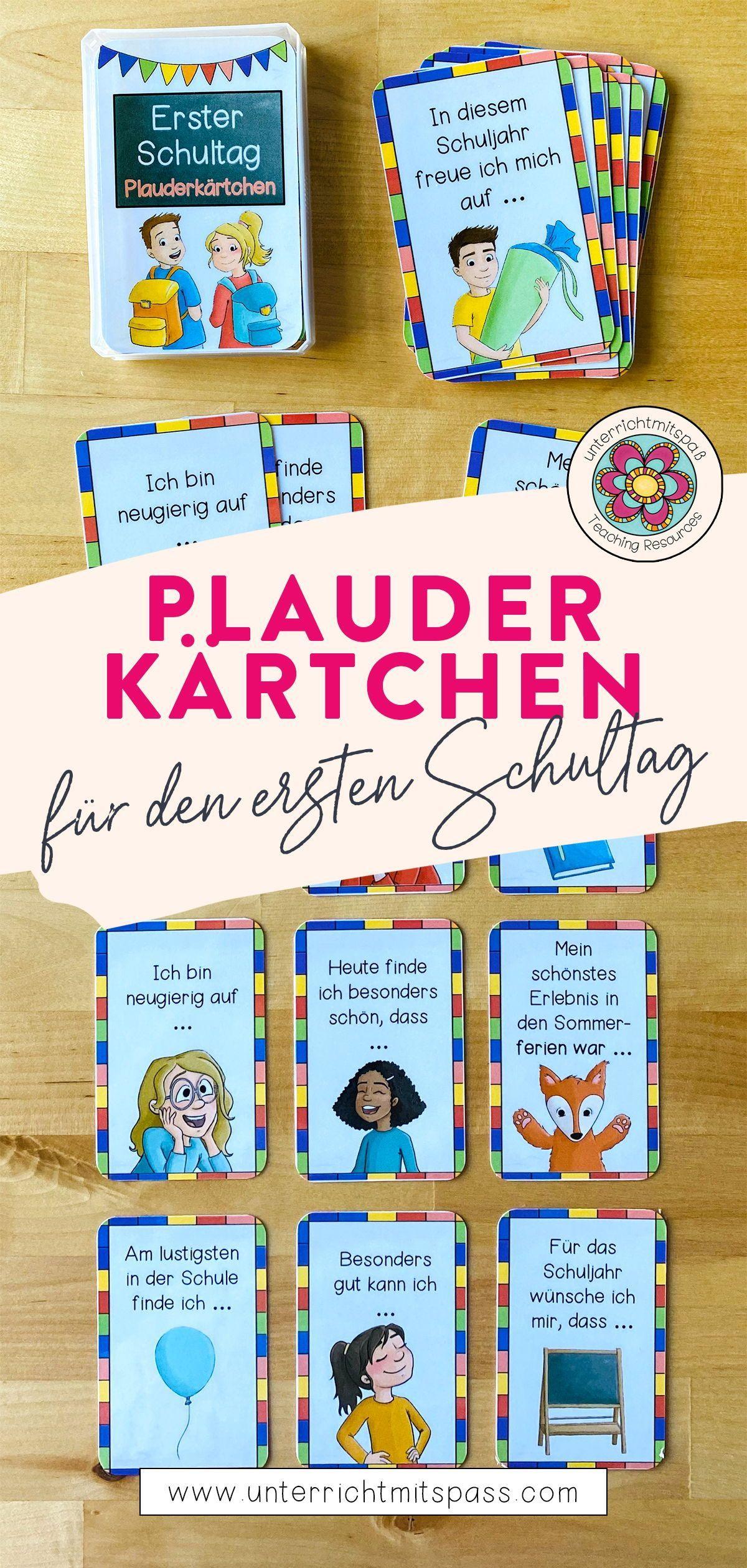 Erster Schultag   Plauderkärtchen – Unterrichtsmaterial im Fach ...