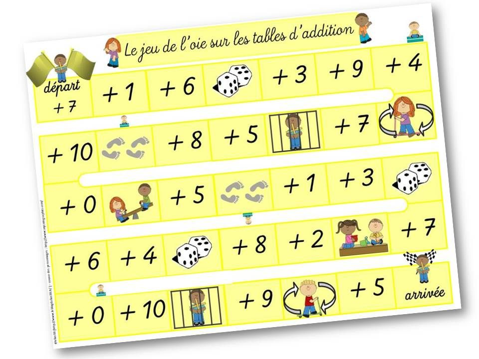 Les tables d 39 addition jeu de l 39 oie cp maths - Table d addition ce1 a imprimer ...