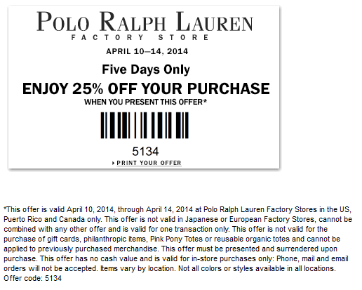 pinned april 10th extra 25 off at polo ralph lauren factory locations coupon via the coupons. Black Bedroom Furniture Sets. Home Design Ideas
