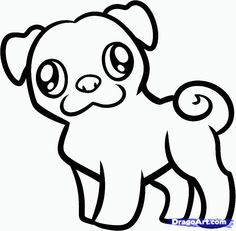 Pug Outline Dog Drawing Simple Puppy Drawing Dog Drawing