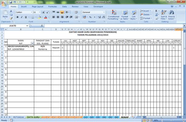 Absensi Daftar Hadir Guru Format Microsoft Excel Microsoft Excel Rencana Pembelajaran Kepala Sekolah