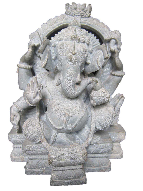 Amazon Com Mogulinterior Ganesha Statue Gorara Stone Sculpture Ganesh Seated In Royal Ease Posture V Statue Stone Sculpture Sculpture