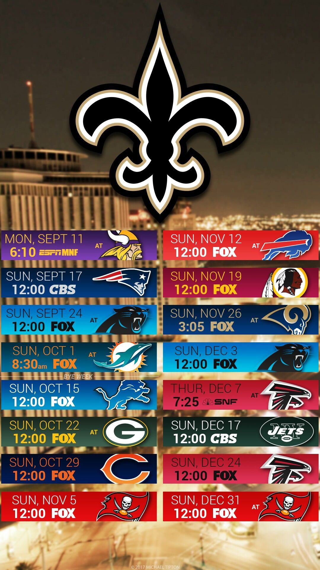 New Orleans Saints 2017 I Phone Android Schedule Wallpaper New