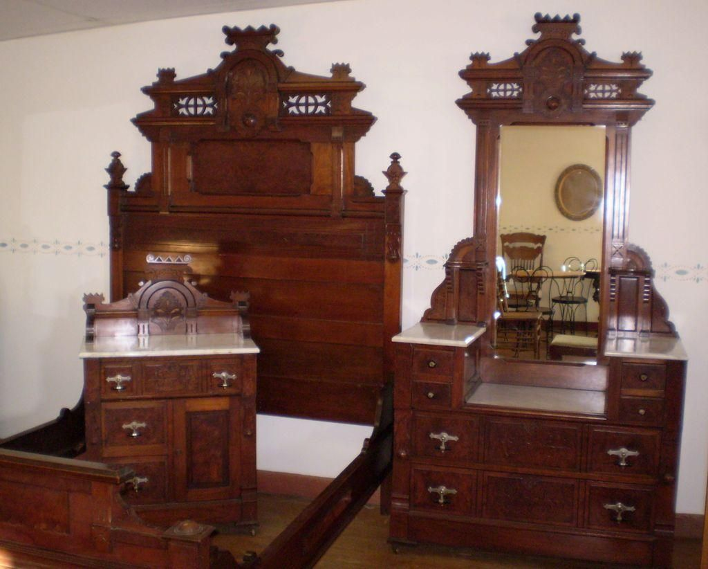 Antique Walnut Burled Elm Bedroom Set marble top original finish ...
