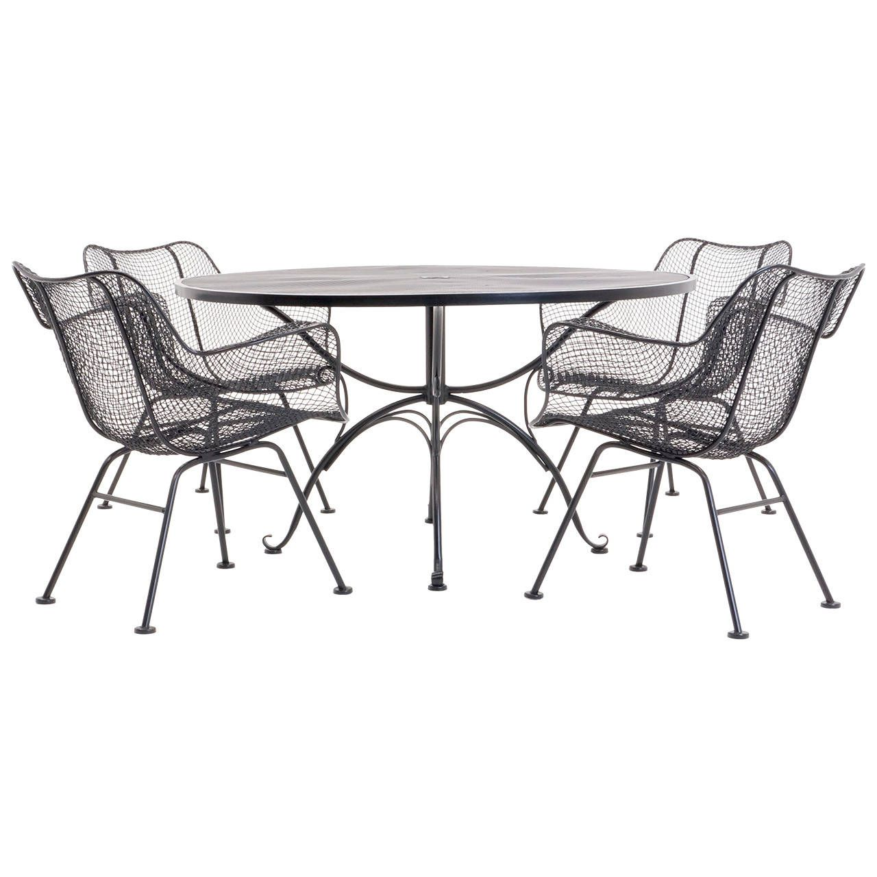 Russell Woodard Outdoor Dining Table with Four Sculptura Dining ...