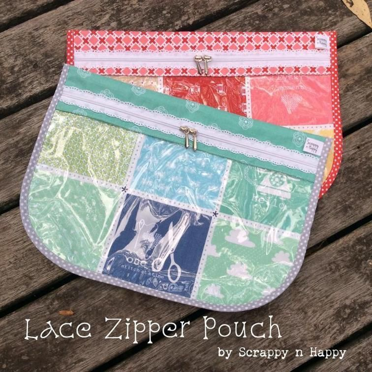 Free Sewing Pattern For A Lace Zipper Pouch Instructions For Fabric And Also How To Make It With A Clear Vinyl Front Als Pouch Sewing Bag Pattern Zipper Bags